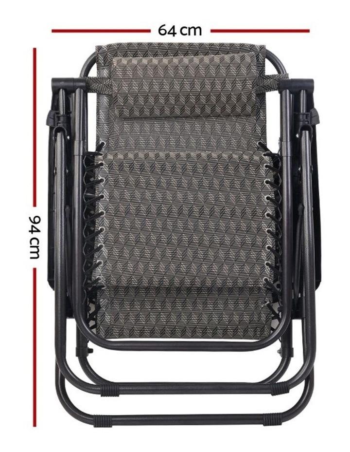 Zero Gravity Chairs 2PC Reclining Outdoor Furniture Sun Lounge Folding Camping Lounger Grey image 3