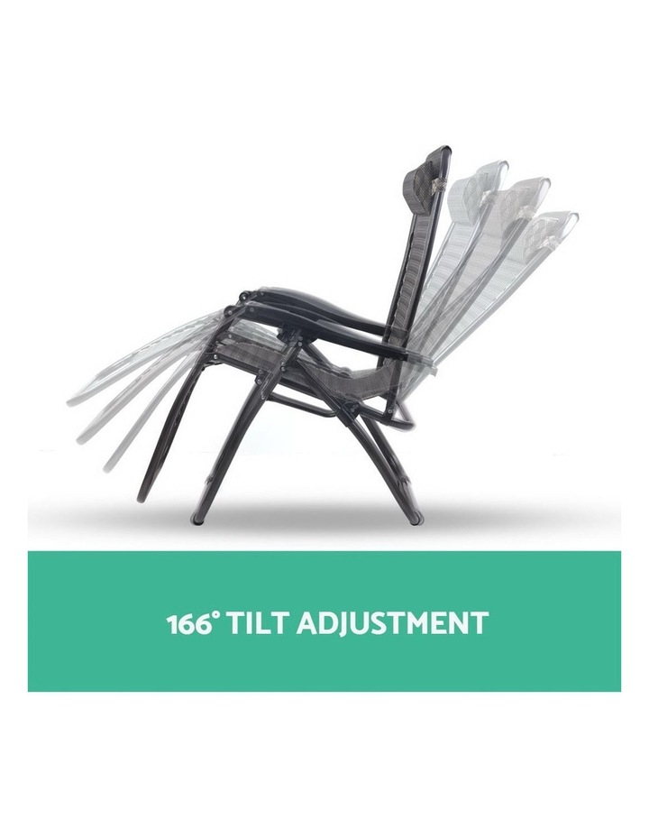 Zero Gravity Chairs 2PC Reclining Outdoor Furniture Sun Lounge Folding Camping Lounger Grey image 5