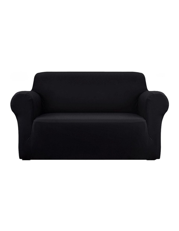 Sofa Cover Elastic Stretchable Couch Covers Black 2 Seater image 1