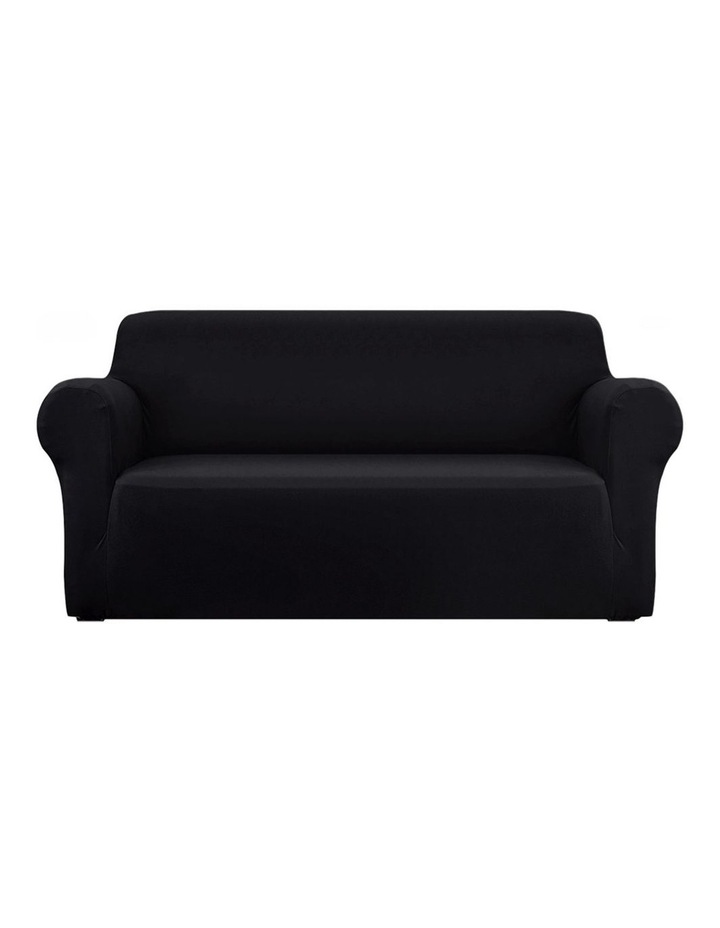 Sofa Cover Elastic Stretchable Couch Covers Black 3 Seater image 1