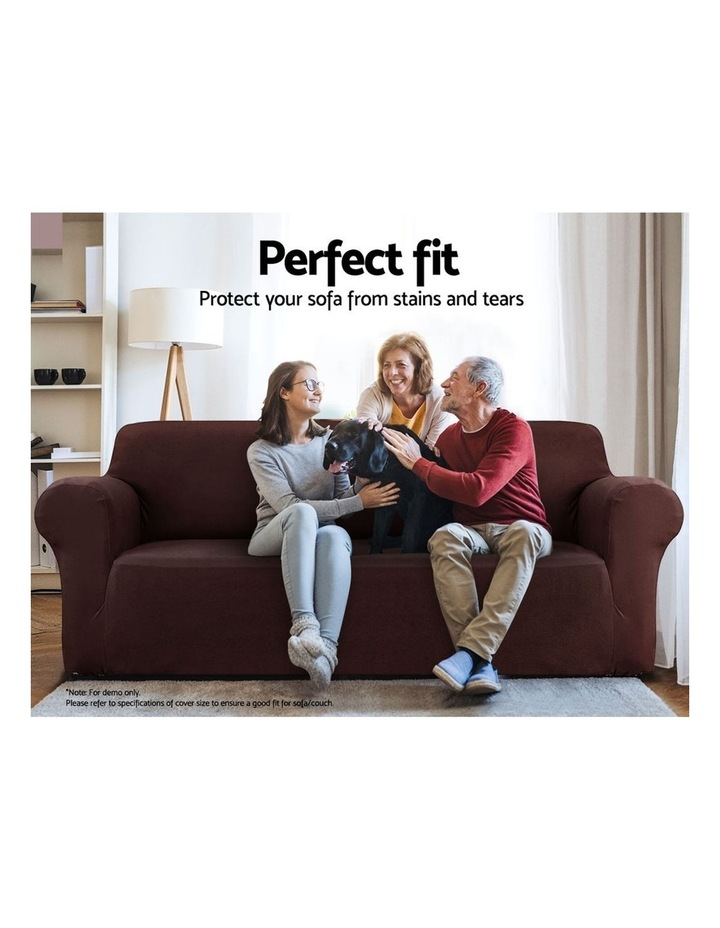 Sofa Cover Elastic Stretchable Couch Covers Coffee 1 Seater image 3