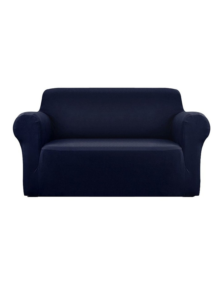 Sofa Cover Elastic Stretchable Couch Covers Navy 2 Seater image 1