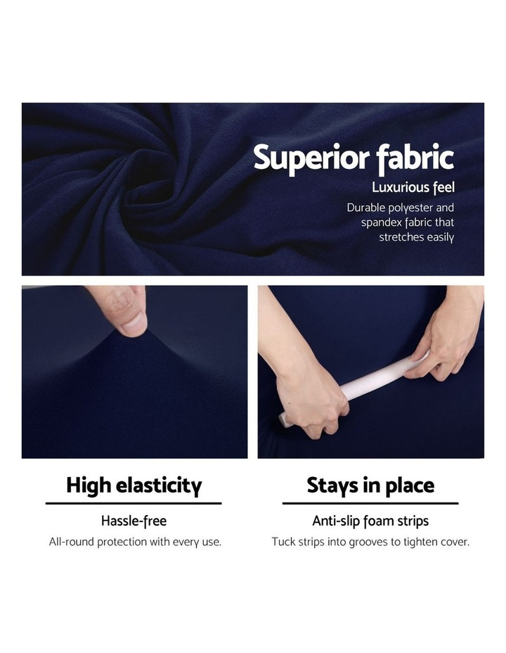Sofa Cover Elastic Stretchable Couch Covers Navy 2 Seater image 4