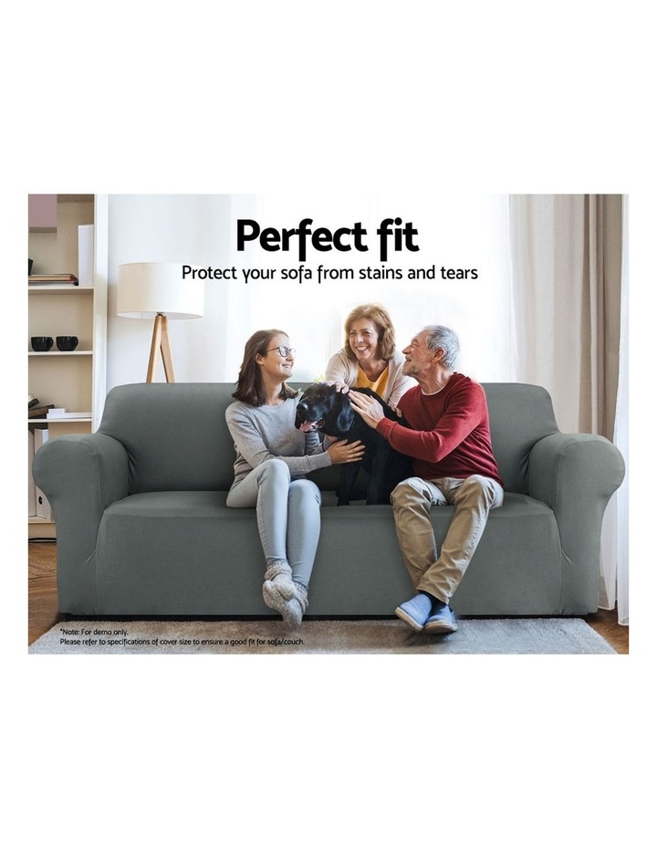 Sofa Cover Elastic Stretchable Couch Covers Grey 3 Seater image 3