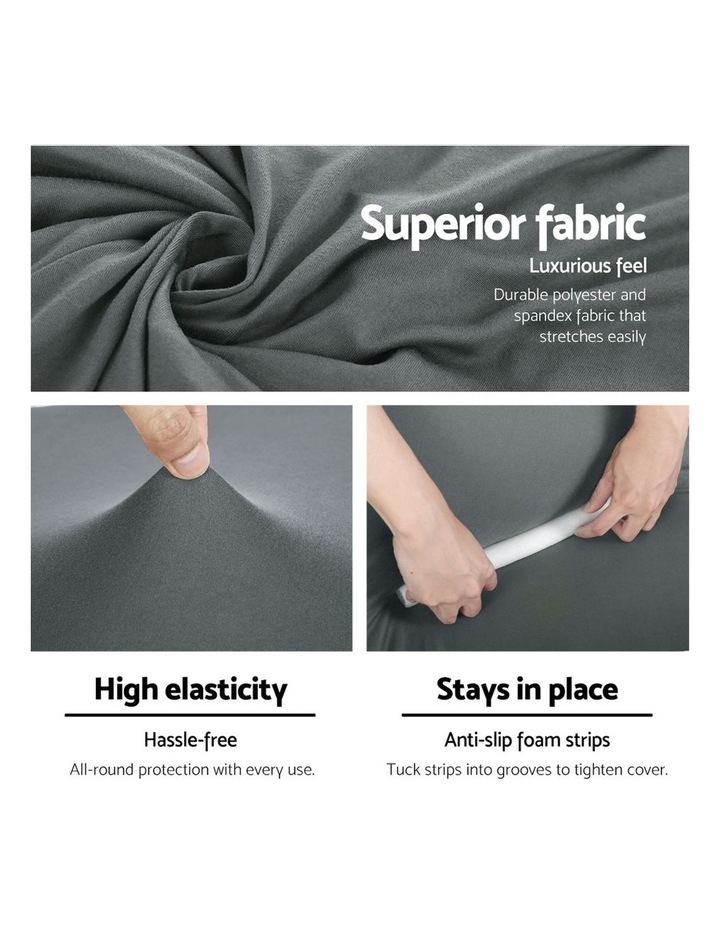 Sofa Cover Elastic Stretchable Couch Covers Grey 3 Seater image 4