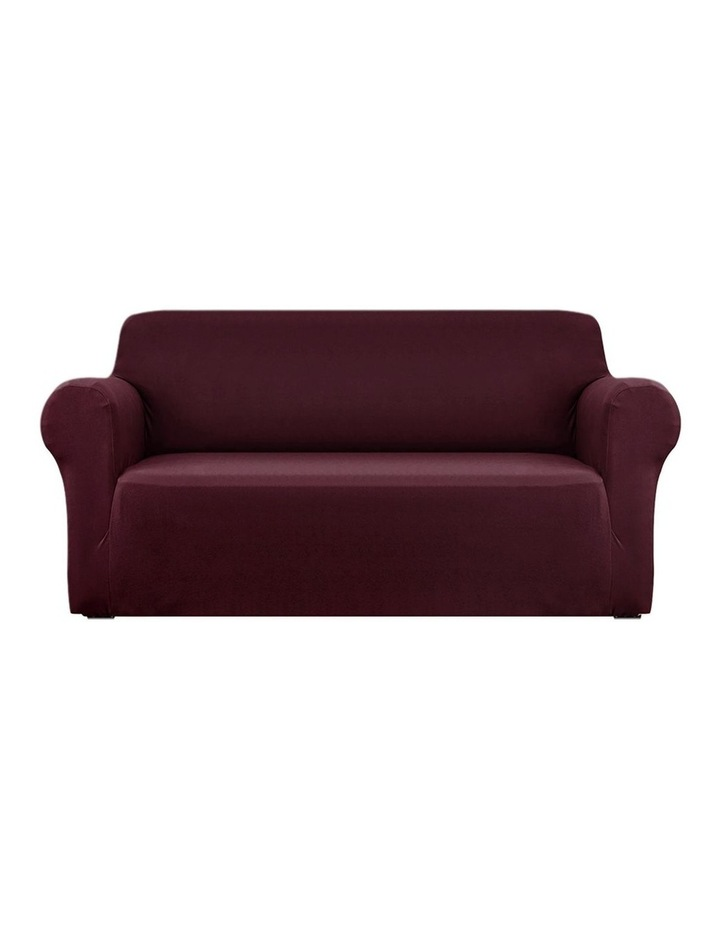 Sofa Cover Elastic Stretchable Couch Covers Burgundy 3 Seater image 1