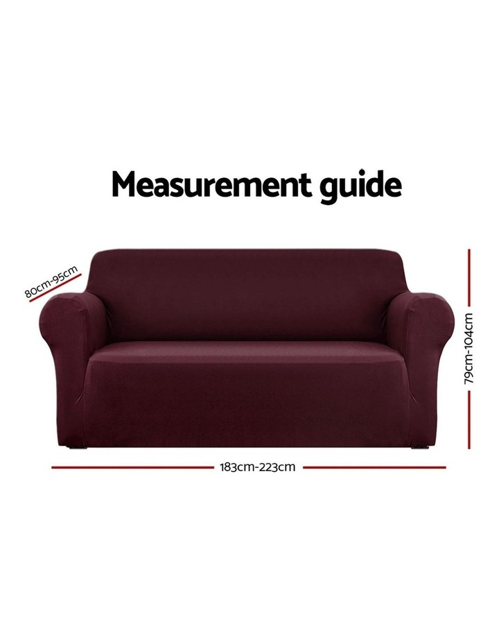 Sofa Cover Elastic Stretchable Couch Covers Burgundy 3 Seater image 2