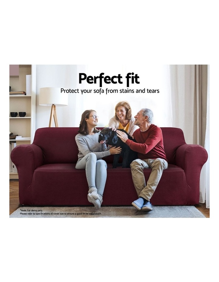 Sofa Cover Elastic Stretchable Couch Covers Burgundy 3 Seater image 3
