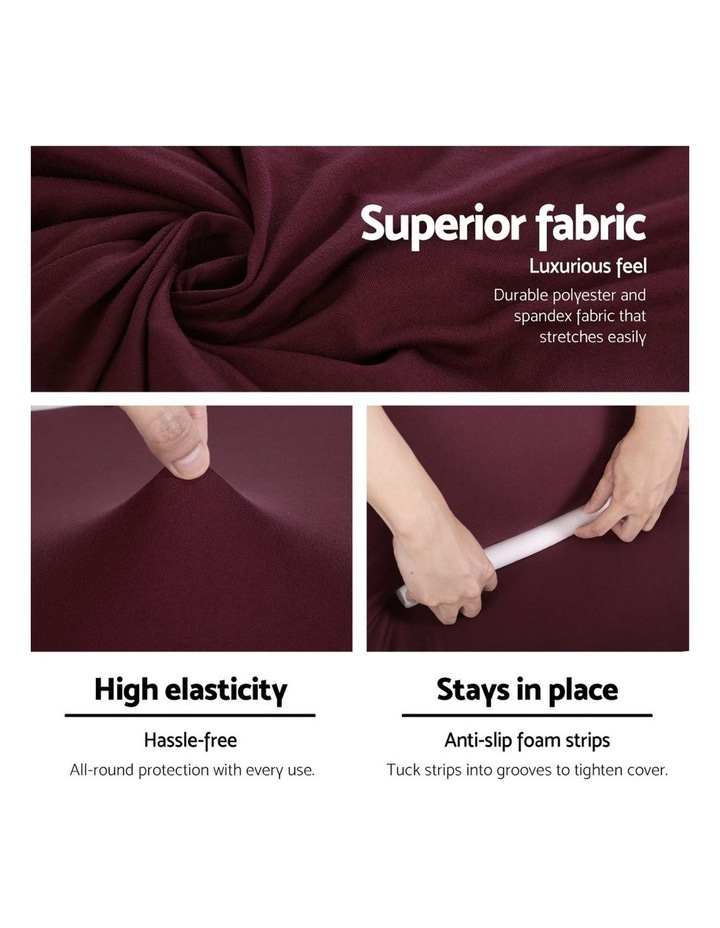 Sofa Cover Elastic Stretchable Couch Covers Burgundy 3 Seater image 4
