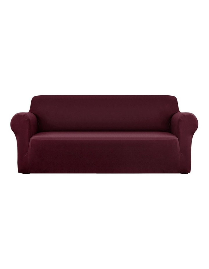 Sofa Cover Elastic Stretchable Couch Covers Burgundy 4 Seater image 1