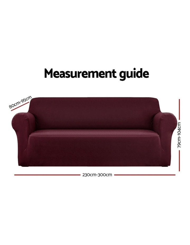 Sofa Cover Elastic Stretchable Couch Covers Burgundy 4 Seater image 2