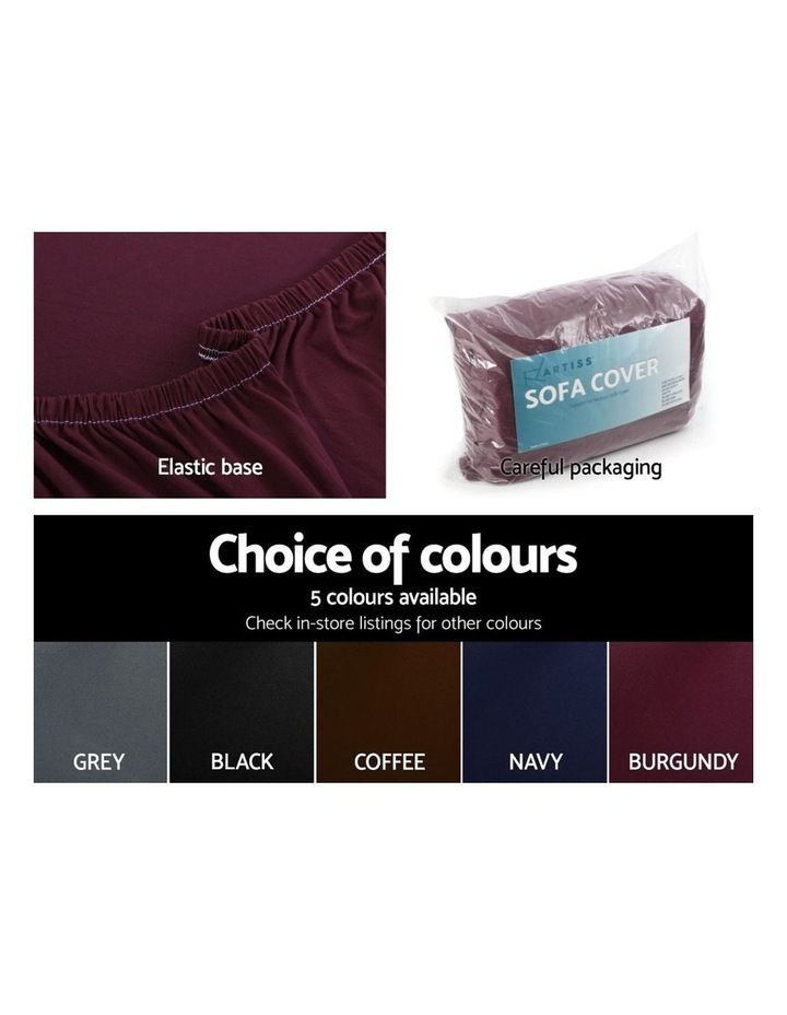 Sofa Cover Elastic Stretchable Couch Covers Burgundy 4 Seater image 5