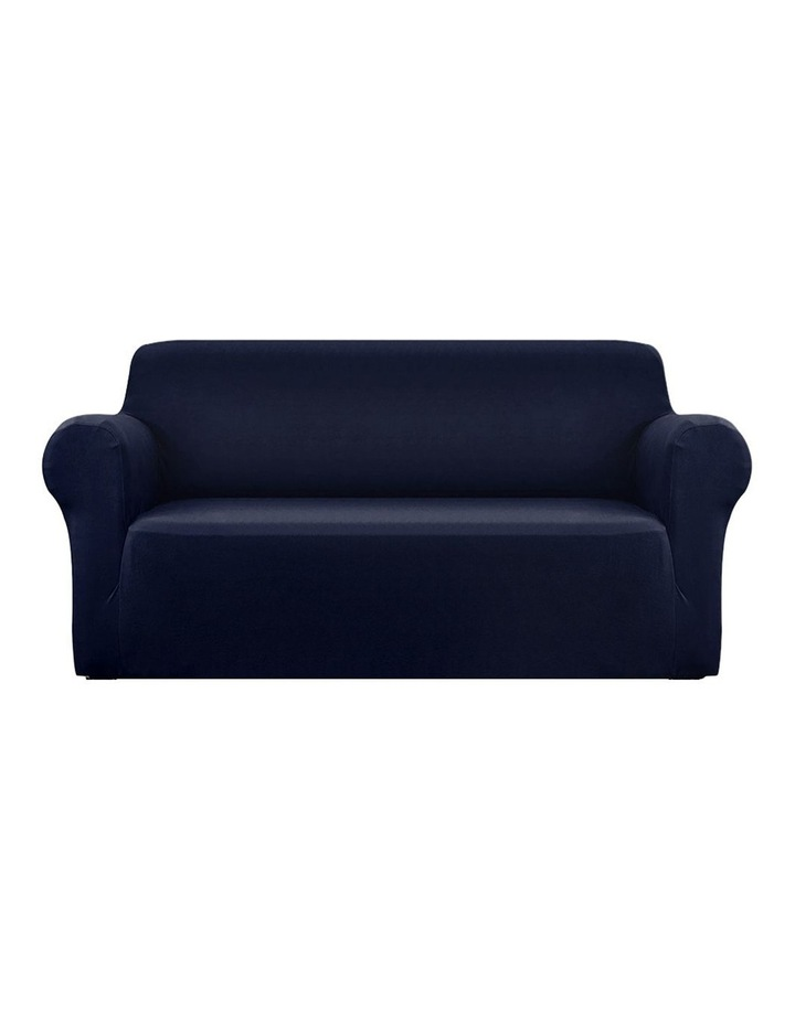 Sofa Cover Elastic Stretchable Couch Covers Navy 3 Seater image 1