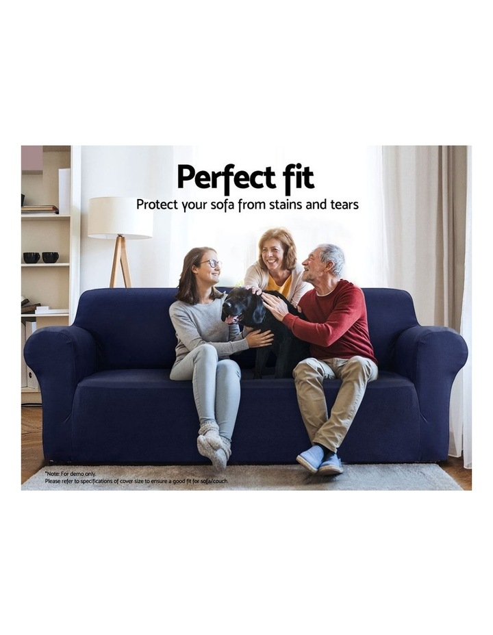 Sofa Cover Elastic Stretchable Couch Covers Navy 3 Seater image 3