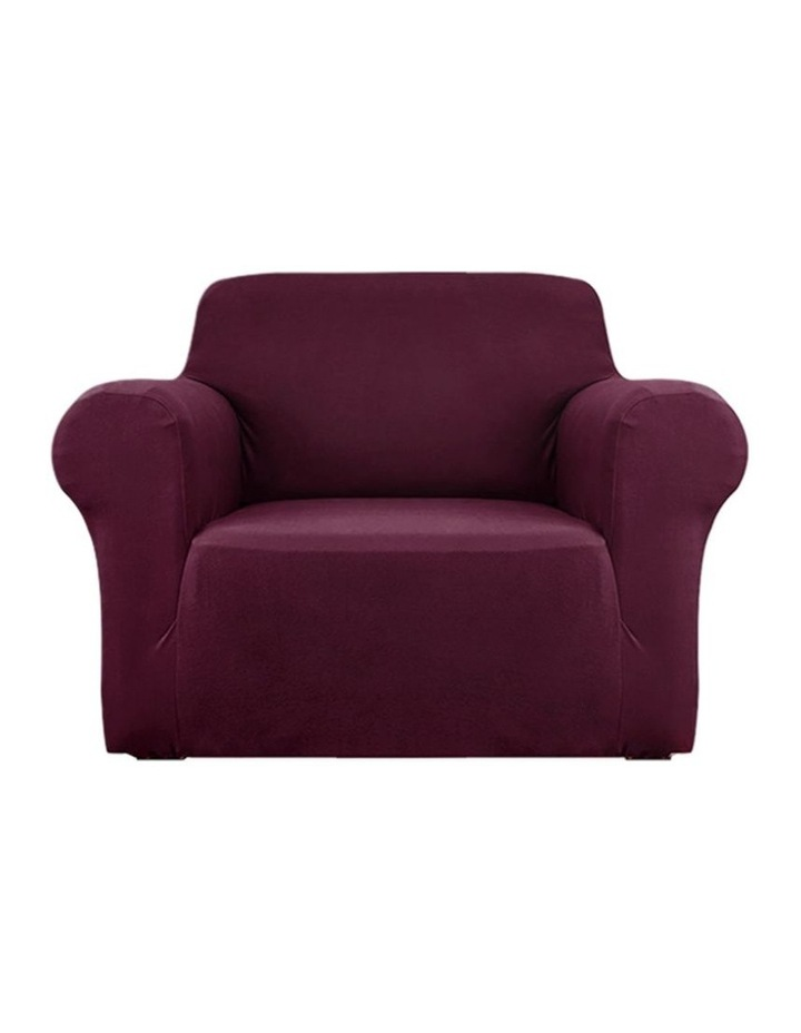 Sofa Cover Elastic Stretchable Couch Covers Burgundy 1 Seater image 1
