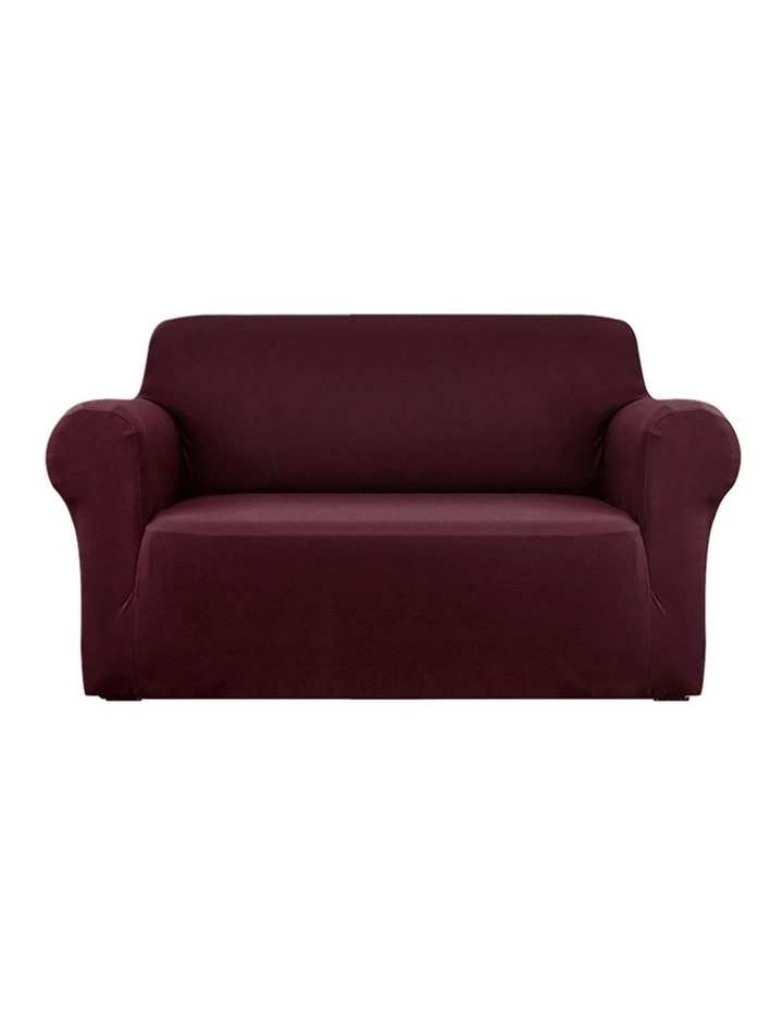 Sofa Cover Elastic Stretchable Couch Covers Burgundy 2 Seater image 1