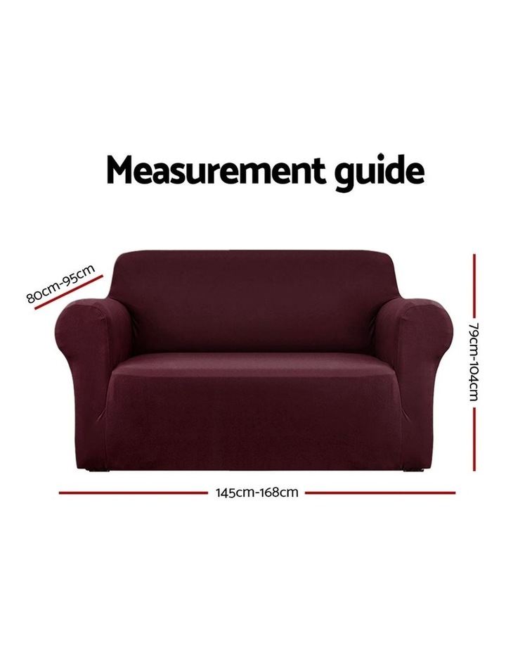 Sofa Cover Elastic Stretchable Couch Covers Burgundy 2 Seater image 2