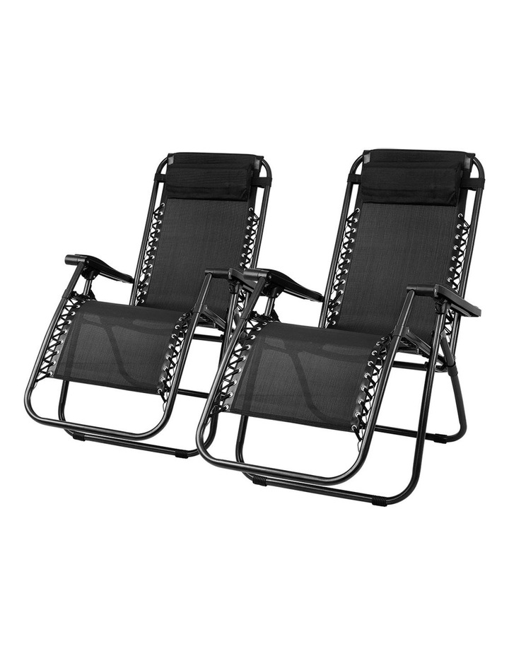 Zero Gravity Chairs 2PC Reclining Outdoor Furniture Sun Lounge Folding Camping Lounger Black image 1