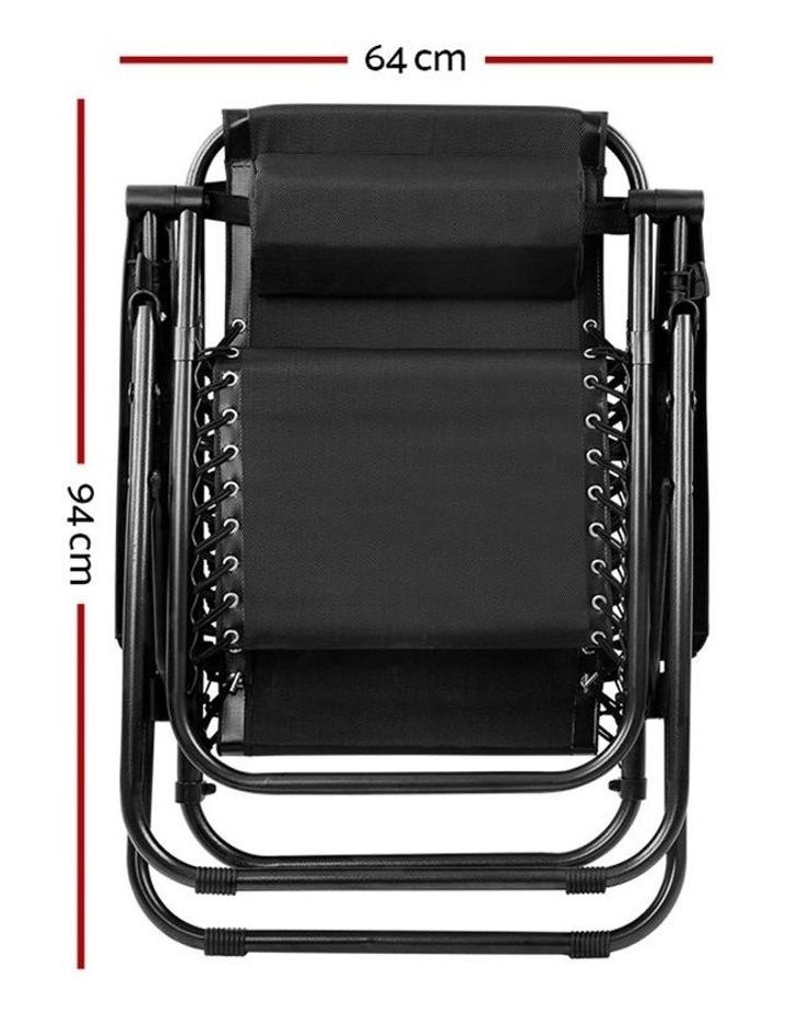 Zero Gravity Chairs 2PC Reclining Outdoor Furniture Sun Lounge Folding Camping Lounger Black image 3