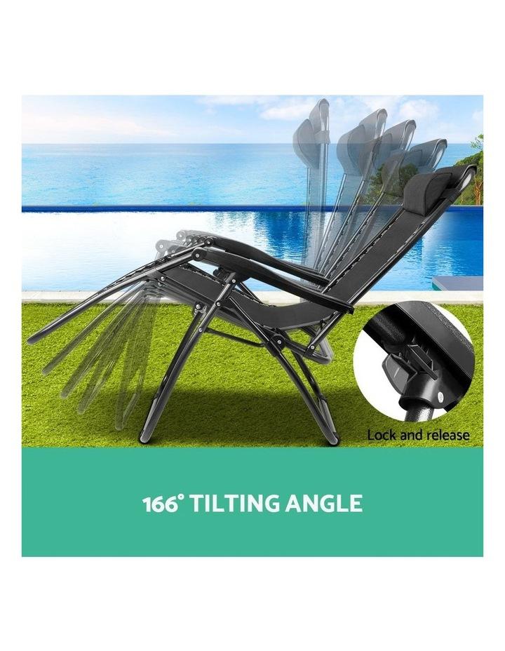 Zero Gravity Chairs 2PC Reclining Outdoor Furniture Sun Lounge Folding Camping Lounger Black image 4