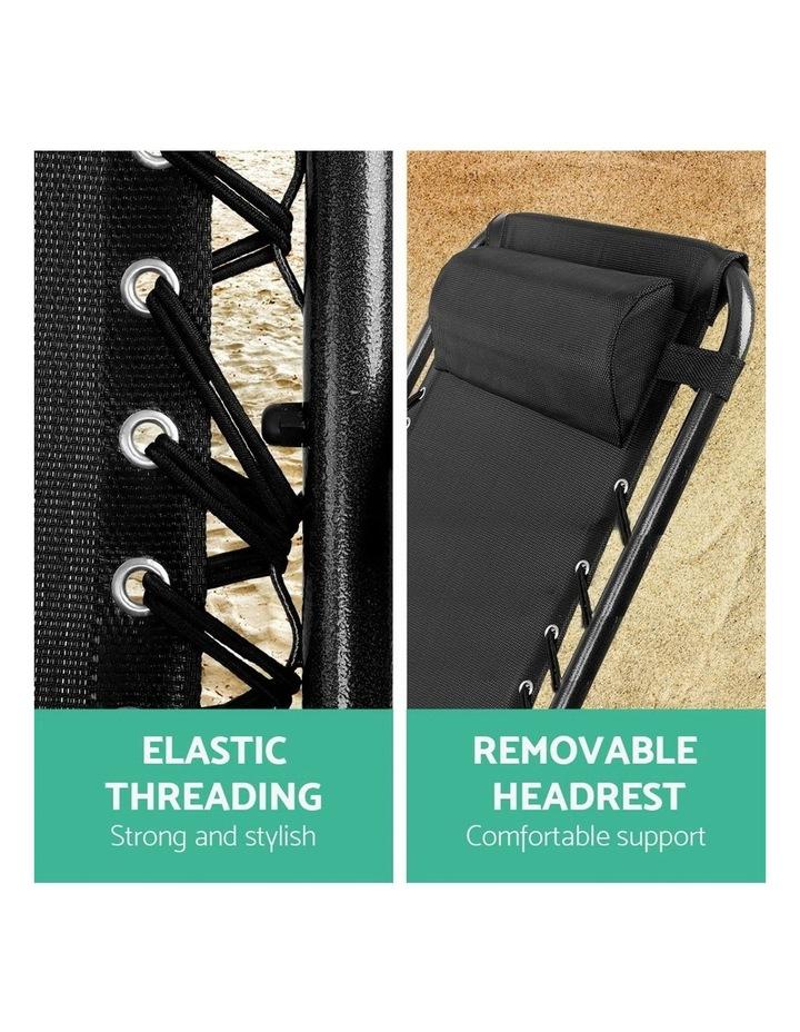 Zero Gravity Chairs 2PC Reclining Outdoor Furniture Sun Lounge Folding Camping Lounger Black image 5