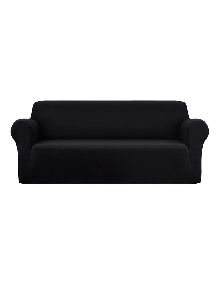 Sofa Cover Elastic Stretchable Couch Covers Black 4 Seater image 1