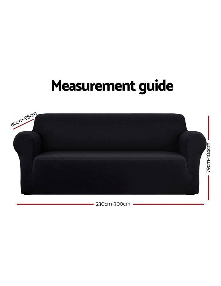 Sofa Cover Elastic Stretchable Couch Covers Black 4 Seater image 2