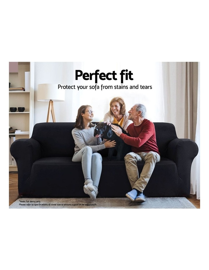 Sofa Cover Elastic Stretchable Couch Covers Black 4 Seater image 3