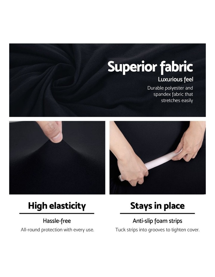 Sofa Cover Elastic Stretchable Couch Covers Black 4 Seater image 4