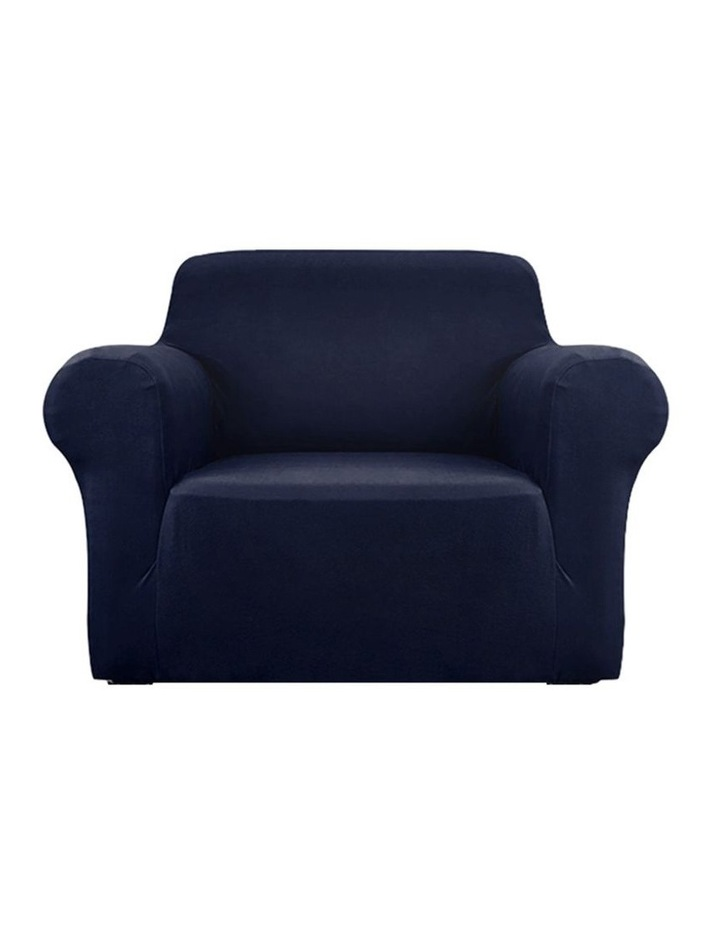 Sofa Cover Elastic Stretchable Couch Covers Navy 1 Seater image 1