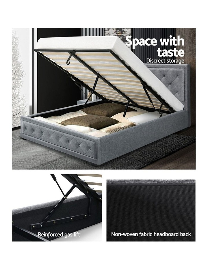 Bed Frame Double Full Size Gas Lift Base With Storage Grey Fabric TIYO image 5
