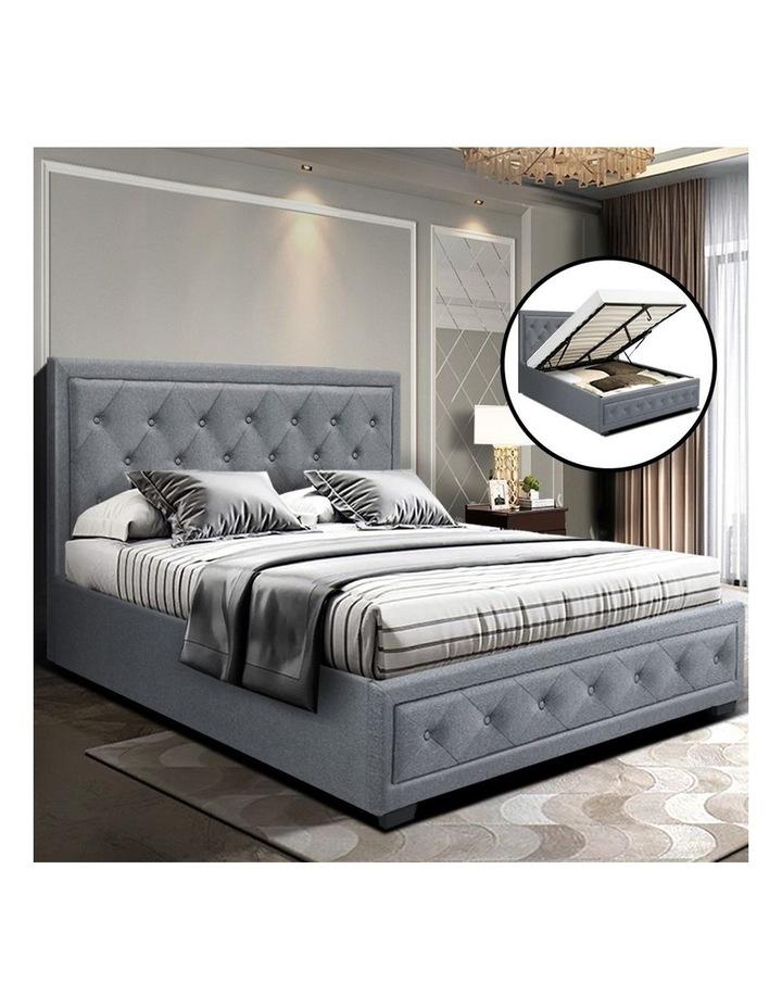 Bed Frame Double Full Size Gas Lift Base With Storage Grey Fabric TIYO image 6