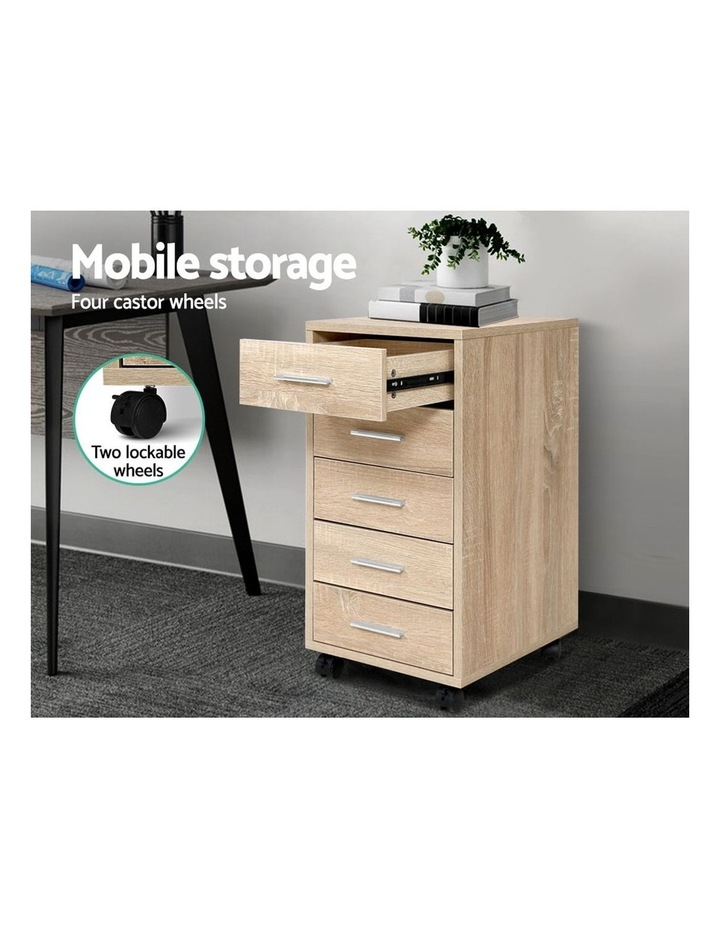 5 Drawer Filing Cabinet Storage Drawers Wood Study Office School File Cupboard image 4