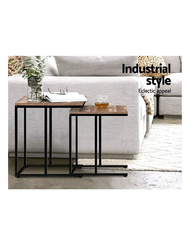 Coffee Table Nesting Side Tables Wooden Rustic Vintage Metal Frame image 3