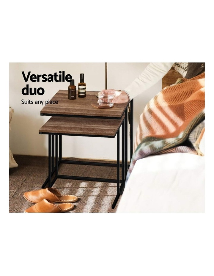 Coffee Table Nesting Side Tables Wooden Rustic Vintage Metal Frame image 4