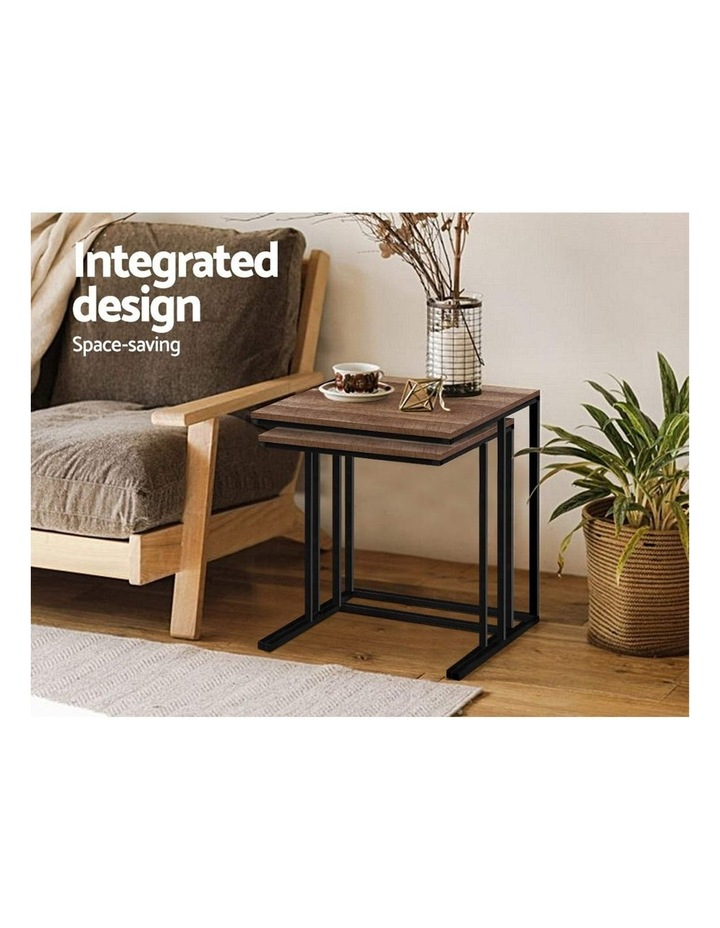 Coffee Table Nesting Side Tables Wooden Rustic Vintage Metal Frame image 5