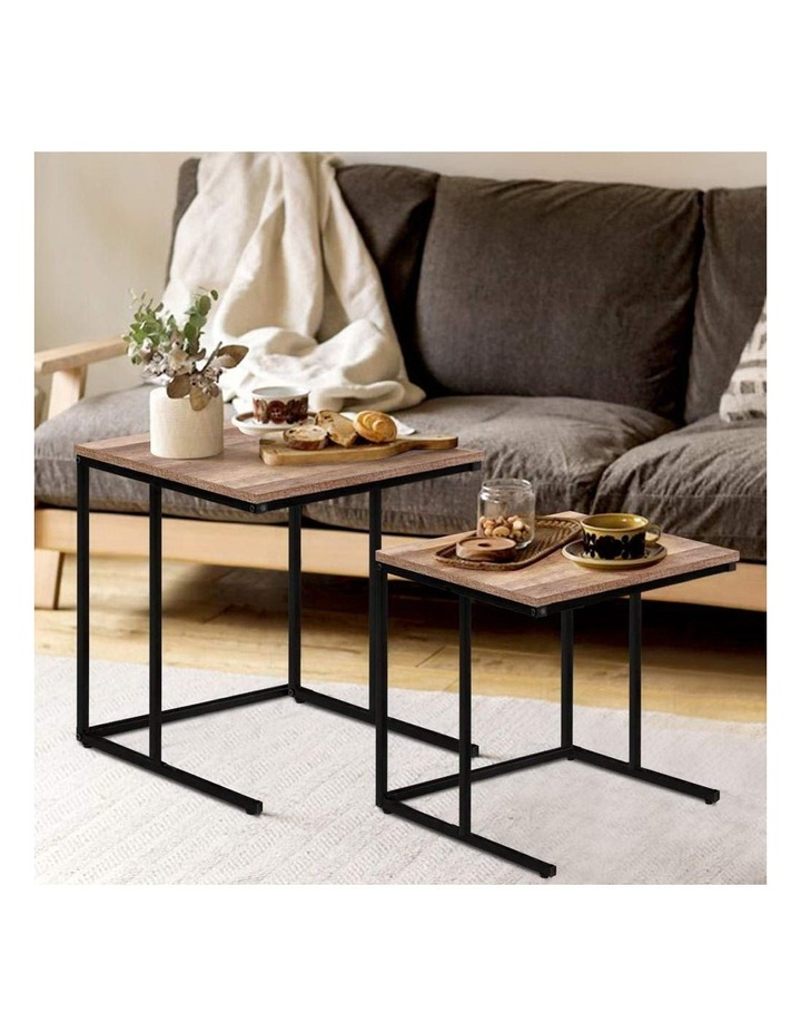 Coffee Table Nesting Side Tables Wooden Rustic Vintage Metal Frame image 6