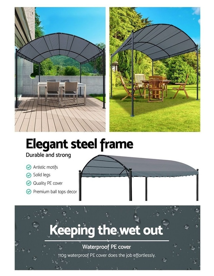 Gazebo 4x3m Party Marquee Outdoor Wedding Event Tent Iron Art Gazebos Grey image 5