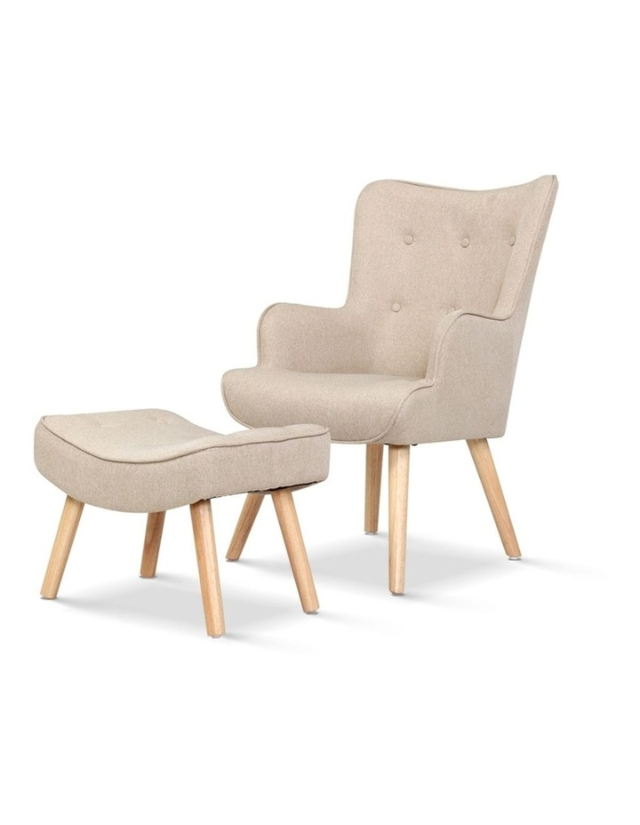 Armchair Lounge Chair Fabric Sofa Accent Chairs and Ottoman Beige image 1