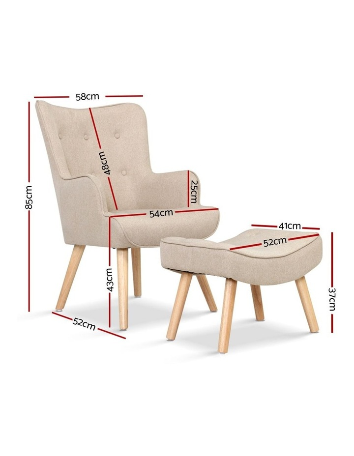 Armchair Lounge Chair Fabric Sofa Accent Chairs and Ottoman Beige image 2