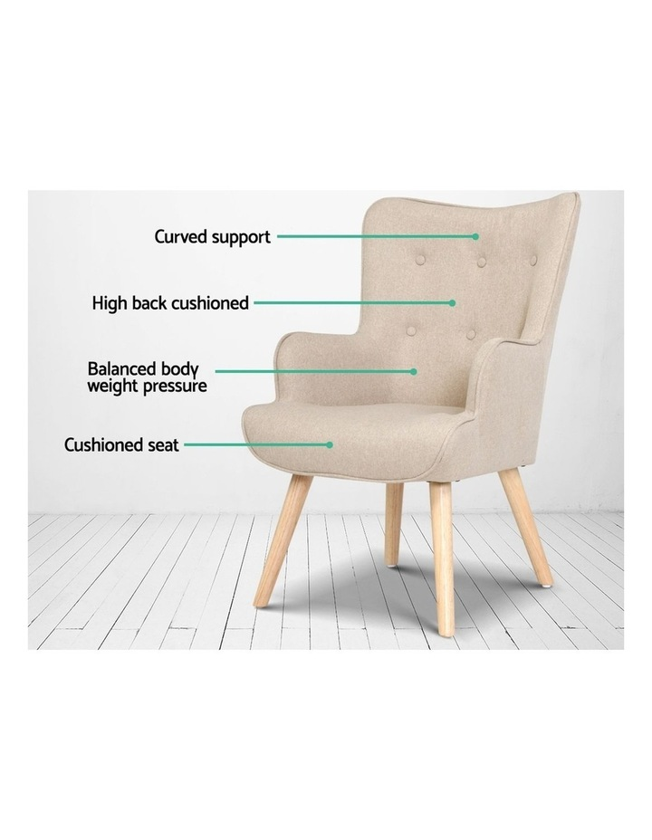 Armchair Lounge Chair Fabric Sofa Accent Chairs and Ottoman Beige image 5