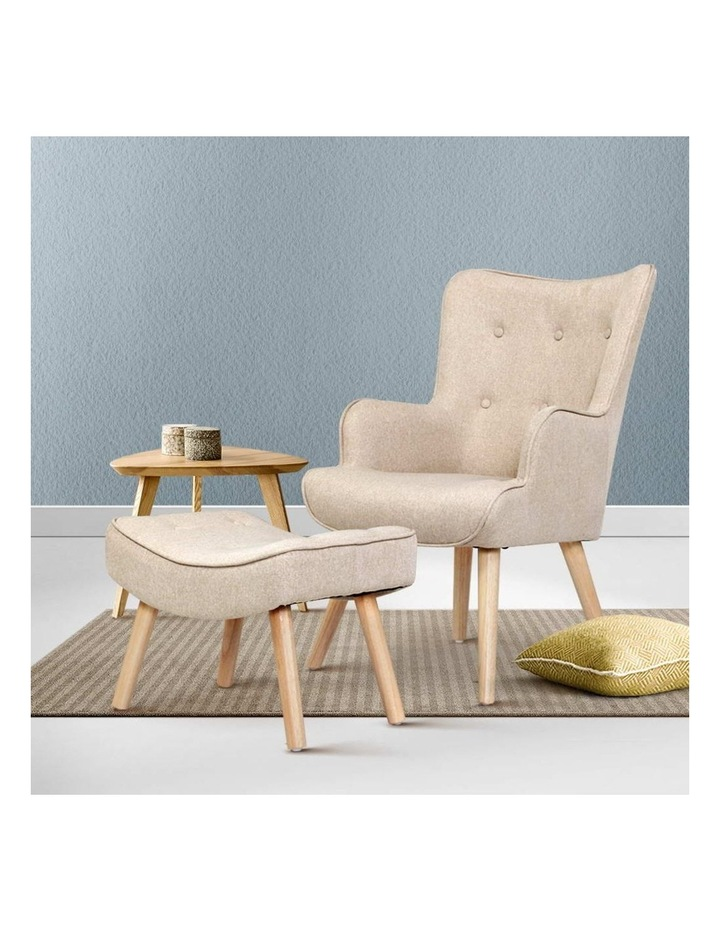 Armchair Lounge Chair Fabric Sofa Accent Chairs and Ottoman Beige image 6