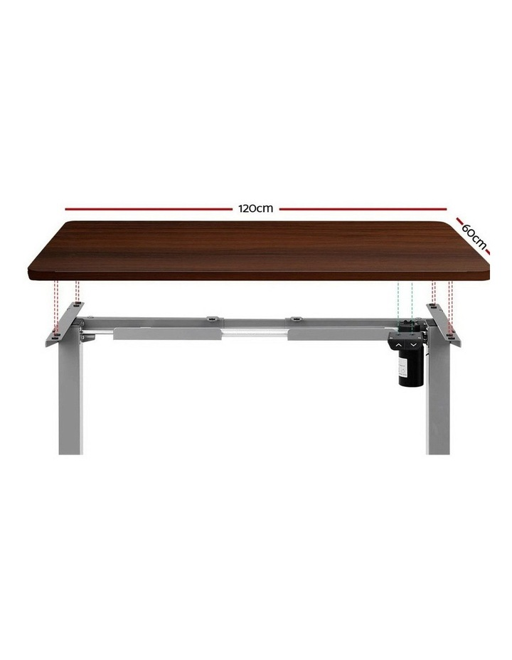 Standing Desk Sit Stand Table Height Adjustable Motorised Electric Grey Frame 120cm Walnut image 3