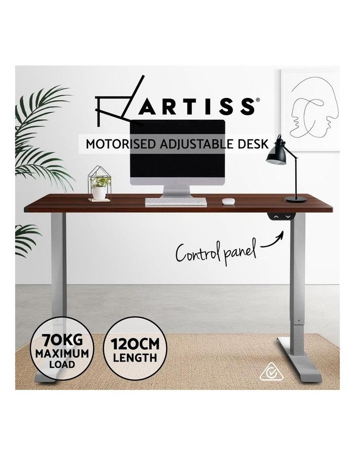 Standing Desk Sit Stand Table Height Adjustable Motorised Electric Grey Frame 120cm Walnut image 4