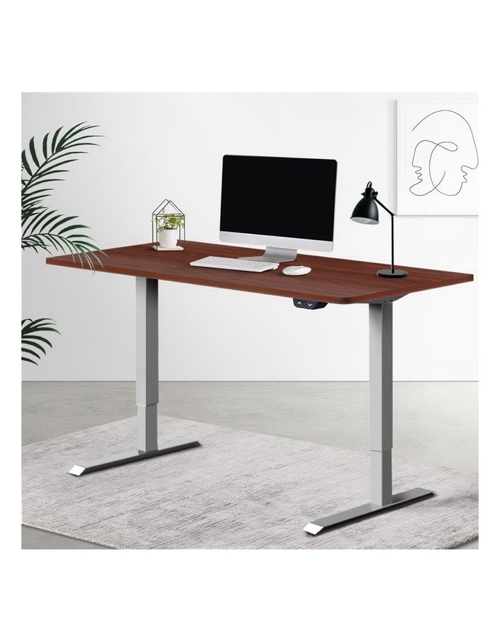Standing Desk Sit Stand Table Height Adjustable Motorised Electric Grey Frame 120cm Walnut image 6