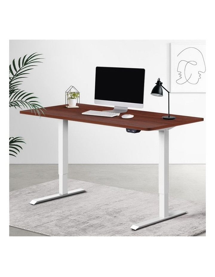 Standing Desk Sit Stand Table Riser Motorised Electric Height Adjustable Computer Laptop Table Home Office White Frame image 6