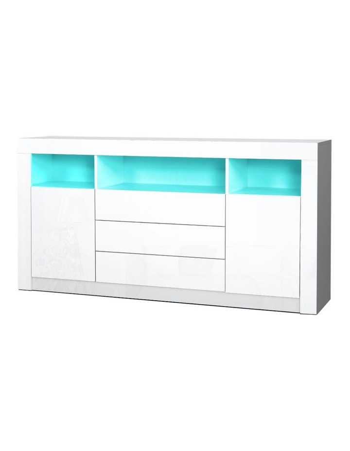 Buffet Sideboard Cabinet 3 Drawers High Gloss Storage Cupboard LED image 1