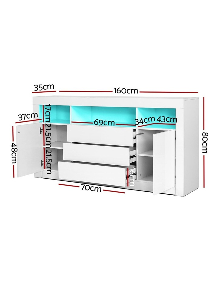 Buffet Sideboard Cabinet 3 Drawers High Gloss Storage Cupboard LED image 2