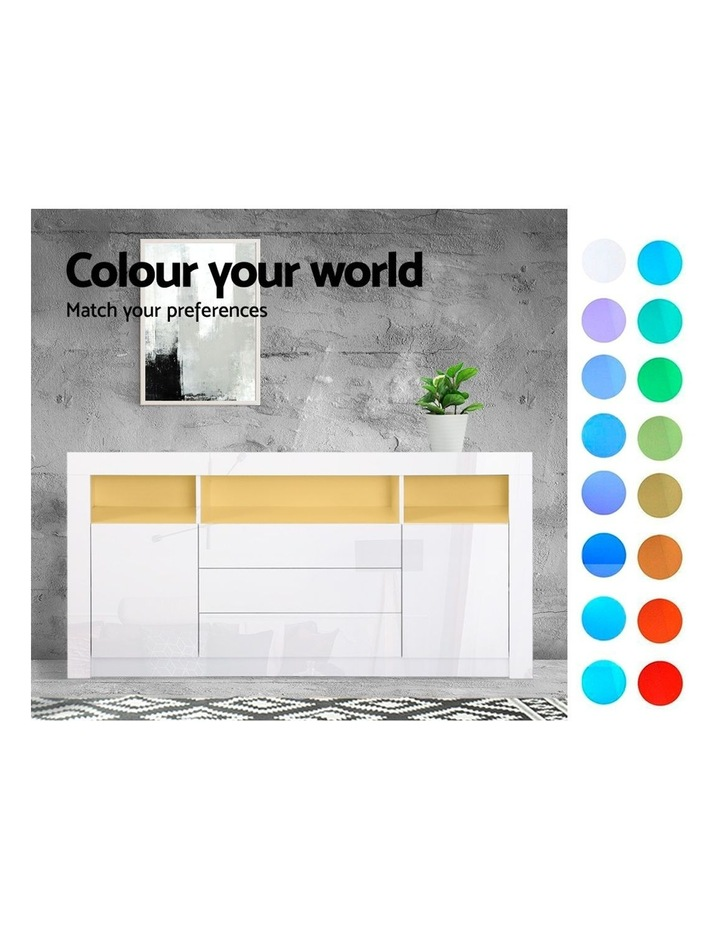Buffet Sideboard Cabinet 3 Drawers High Gloss Storage Cupboard LED image 4