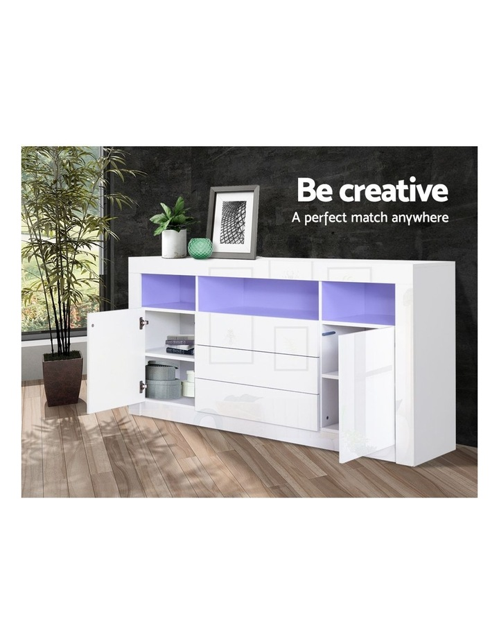 Buffet Sideboard Cabinet 3 Drawers High Gloss Storage Cupboard LED image 5